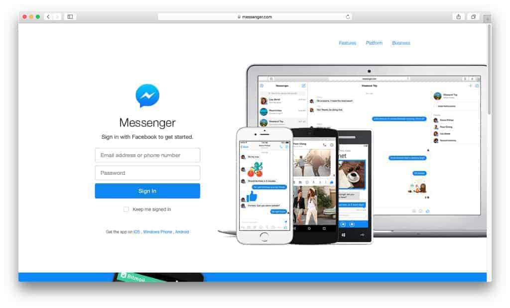 Messenger: plataforma de chat ao vivo
