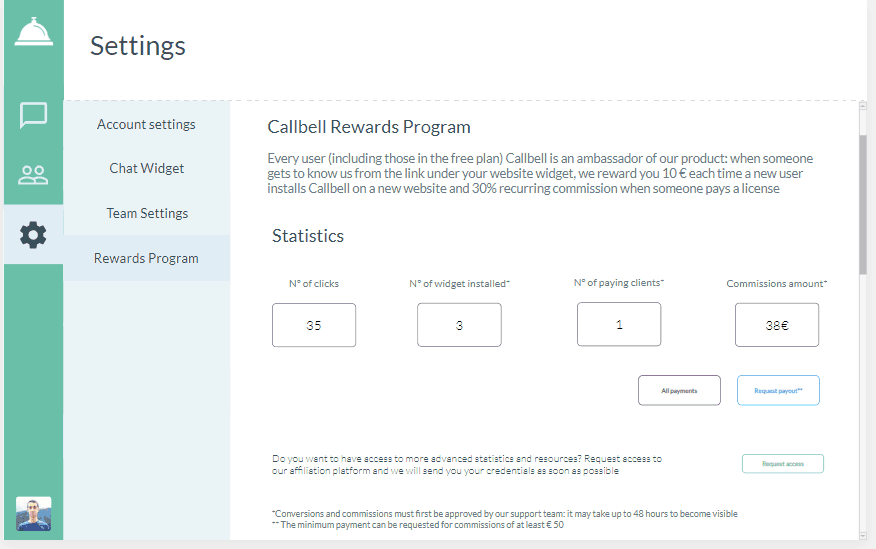 Callbell Rewards Dashboard