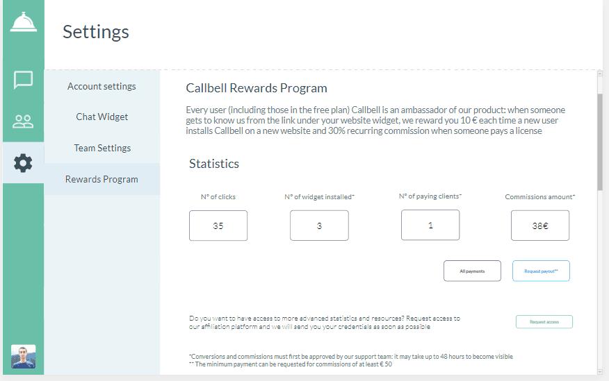 Callbell - programa Rewards