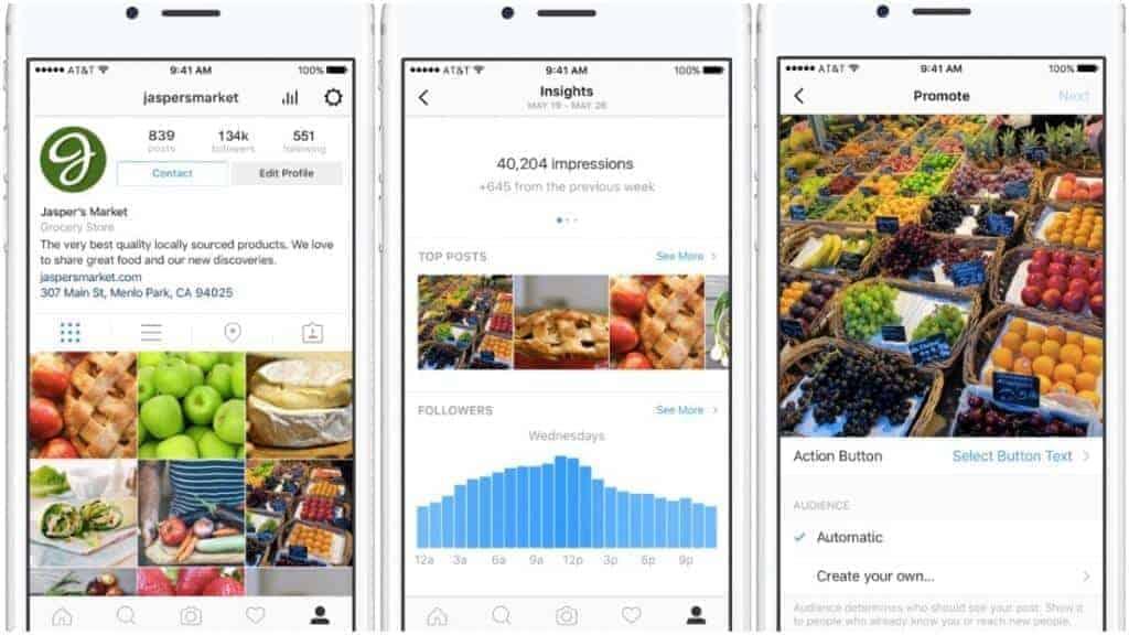 Página de negocios de Instagram