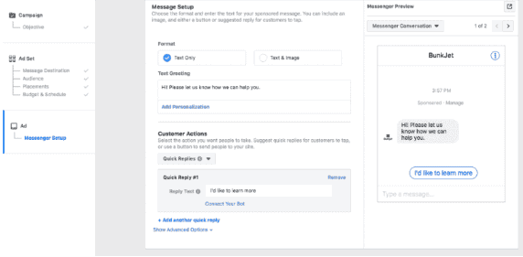 How to customize the flow of a Messenger ad