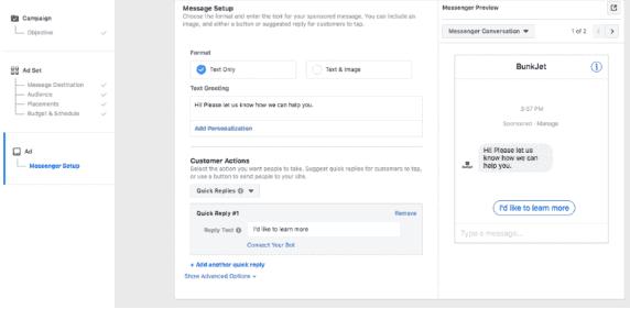 Come personalizzare il flusso di una Messenger ad