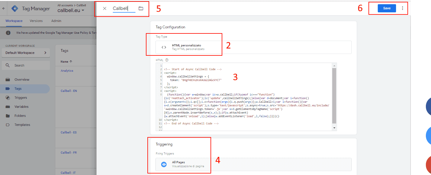 Integrate the Callbell widget with Gooogle Tag Manager