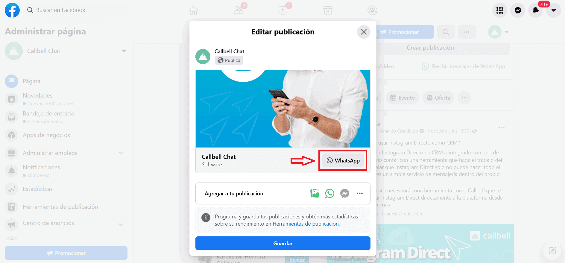 How to add the WhatsApp button to a Facebook's post?